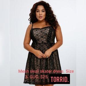 Torrid, size 3. Skull mesh skater dress.